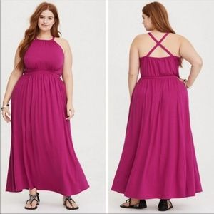 Torrid Raspberry High Neck Jersey Maxi Dress NWOT